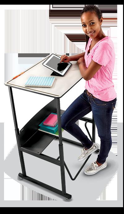 Student using Standing School Desk
