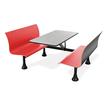 Bench seating and a legless tabletop