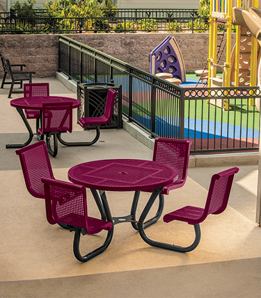 outdoor patio set with clustered seating