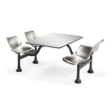 Stainless steel seats and tabletop provide a sturdy, scratch-resistant surface