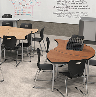 Desks with discrete seating