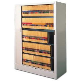 High density file storage with tambour door