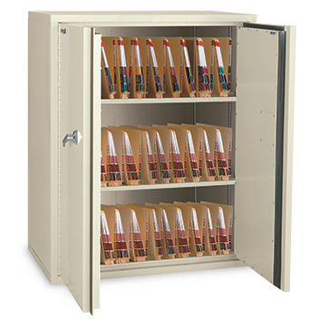 Fire, water and theft resistant, lockable storage cabinet