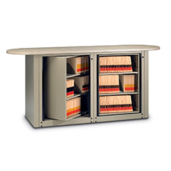Rotating filing unit with laminated work top