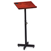 Height adjustable lectern with built in cup holder