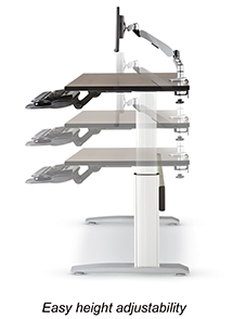 manually adjustable-height desk