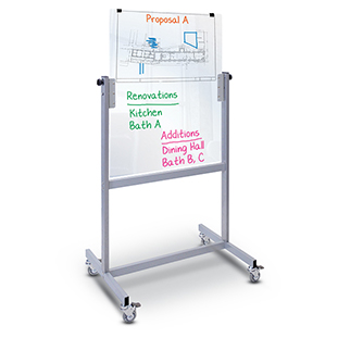 Whiteboard with Magnetic Glass Surface on Mobile steel stand