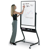 Whiteboard with Magnetic Porcelain Surface on Mobile steel stand