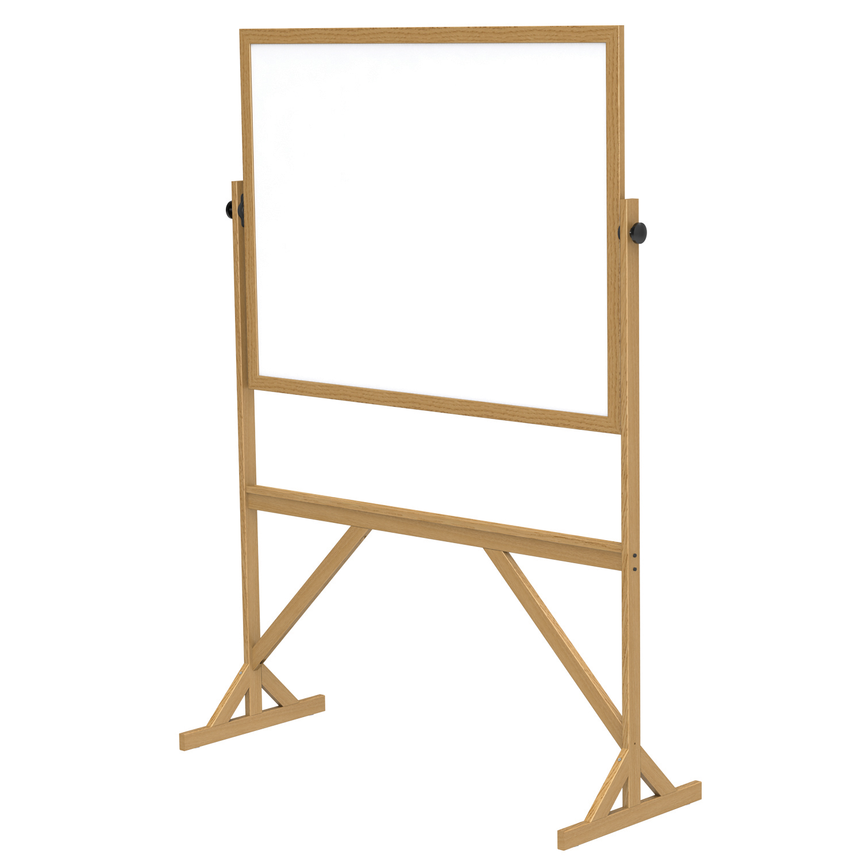 Whiteboard with Reversible Melamine Surface on Stationary wood frame