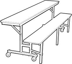 Convertible Bench Cafeteria Table