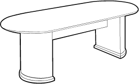 Conference Room Table with Half-Cylinder Base