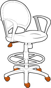 Drafting Chair with Adjustable Height Knob and Casters