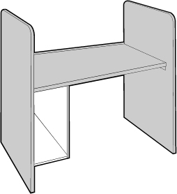 Study Carrel with CPU Holder